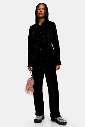 Topshop Womens Herringbone Velvet Shacket - Black