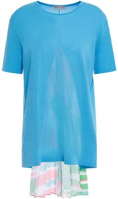 Emilio Pucci Printed Crepe De Chine-paneled Knitted Top