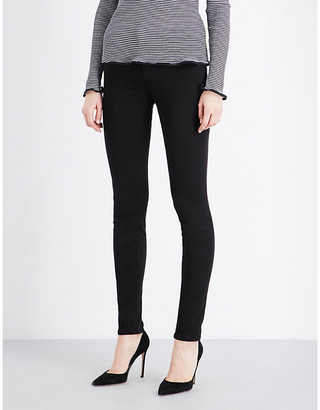 J Brand Ladies Black Cotton Star 485 Luxe Sateen Super-Skinny Mid-Rise Jeans, Size: 32
