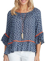 Democracy Boatneck Printed Hi-Lo Top