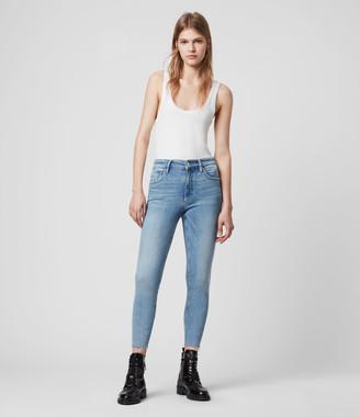 AllSaints Dax Cropped High-Rise Superstretch Skinny Jeans, Light Indigo Blue