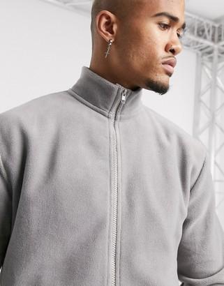 Asos Design DESIGN polar fleece track jacket in grey