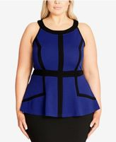 City Chic Trendy Plus Size Outlined Peplum Top