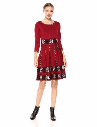 Taylor Dresses Women's Full Skirted Printed Retro Sweater Dress