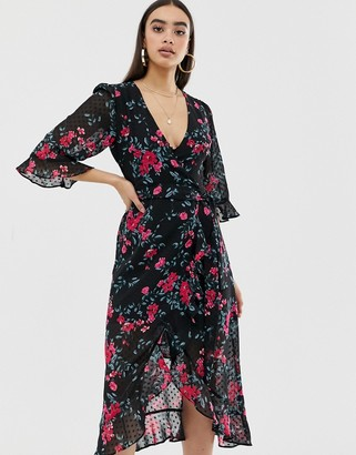 Fashion Union plunge front midi dress in dobby floral-Black
