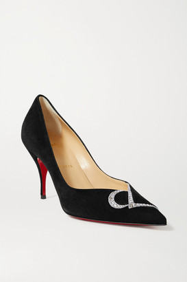 Christian Louboutin Cl 80 Swarovski Crystal-embellished Suede Pumps