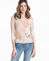White House Black Market Watercolor Floral Printed Cardigan