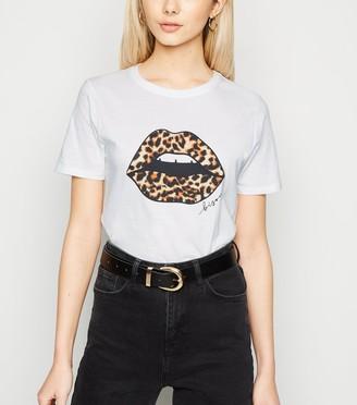 New Look Leopard Print Lips Slogan T-Shirt