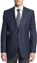 Giorgio Armani Taylor Exaggerated-Birdseye Wool Sport Coat, Navy