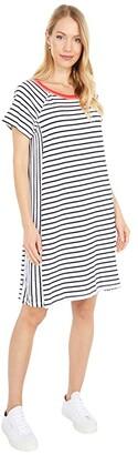 Mod-o-doc Stripe Jersey Raglan T-Shirt Dress with Color-Block Binding (White) Women's Clothing