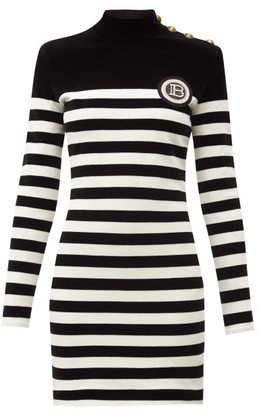 Balmain Logo-applique Striped Velvet Mini Dress - Black White