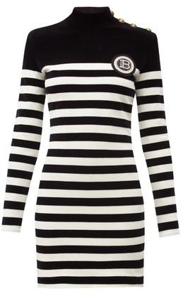 Balmain Logo-applique Striped Velvet Mini Dress - Black White