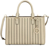 Henri Bendel West 57th Perforated Striped Small Turnlock Satchel