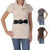 ADI Ci Sono by Junior's Cowl Neck Short-sleeve Belt Sweater Tunic