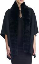 Gorski Wool Cape w/ Fur Trim