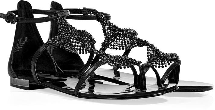 Sam Edelman Black Leather Tyra Chainmetal Sandals