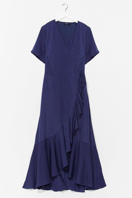 Nasty Gal Womens Love Frill Find a Way Plus Maxi Dress - Navy - 16, Navy