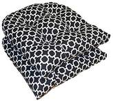 Set of 2 - Universal Tufted U-shape Cushions for Wicker Chair Seat - Black and White Geometric Hockley Print - Indoor / Outdoor