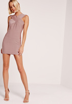 Missguided Petite Exclusive Cross Front Sleeveless Bandage Dress Pink