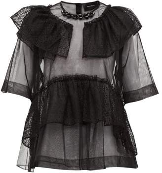 Simone Rocha Beaded Neckline Tulle & Lace Blouse - Womens - Black