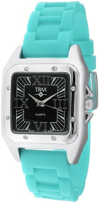 Trax Women's Posh Square Crystal Bezel Wrist Watch with Roman Numerals Dial and Adjustable Rubber Strap