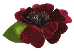 """Northlight 4.75"""" Clip-On Red Velveteen Heart Flower with Leaf Christmas Ornament"""