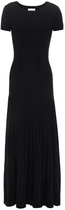Sandro Swan Pleated Ribbed-knit Maxi Dress