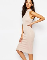 Oh My Love High Neck Midi Pencil Dress