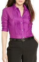 Lauren Ralph Lauren Pintucked Cotton-Silk Shirt