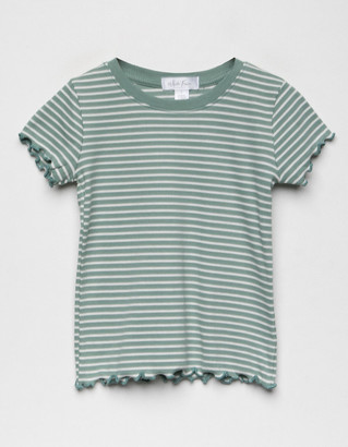 WHITE FAWN Stripe Lettuce Edge Girls Blue & White Tee