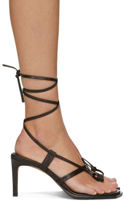 Tibi Brown Embossed Snake Sandals