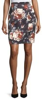 Theory Hourglass Floral-Print Straight Satin Skirt
