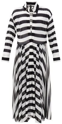 Norma Kamali Asymmetrical-striped Shirtdress - Black Stripe