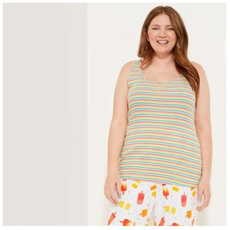 Joe Fresh Women+ Stripe Sleep Tank, Multi (Size 1X)
