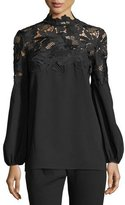 Lela Rose Guipure Lace-Yoke Blouse