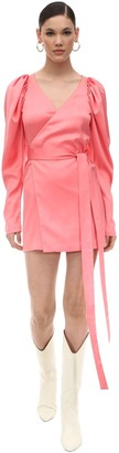Rotate by Birger Christensen Satin Mini Wrap Dress