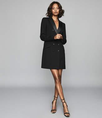 Reiss Sofia - Wool Blend Tuxedo Dress in Black