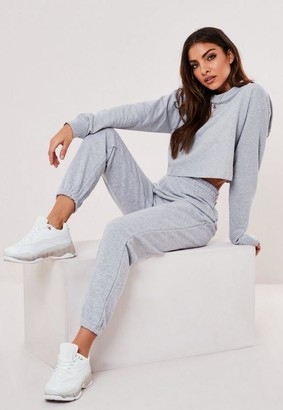 Missguided Gray Cropped Sweatshirt And Joggers Co Ord Set