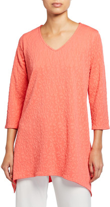 Caroline Rose Pinwheel Textured 3/4-Sleeve Swing Tunic