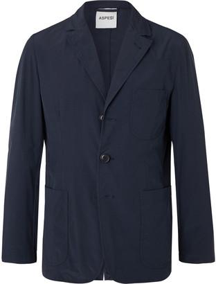Aspesi Navy Slim-Fit Unstructured Garment-Dyed Shell Blazer