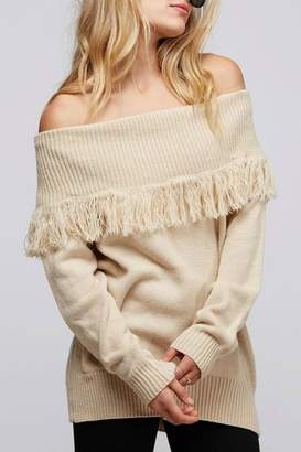 Fantastic Fawn Fringe Off-The-Shoulder Sweater