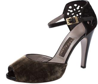 Salvatore Ferragamo Brown Cut Out Suede And Velvet Rarete Ankle Strap Sandals Size 41