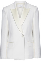 Pallas Amazone Satin-trimmed Grain De Poudre Wool Blazer - Cream