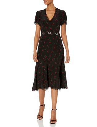 The Kooples Women's Cherry Print Belted Long Dress