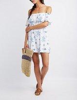 Charlotte Russe Embroidered Off-The-Shoulder Shift Dress