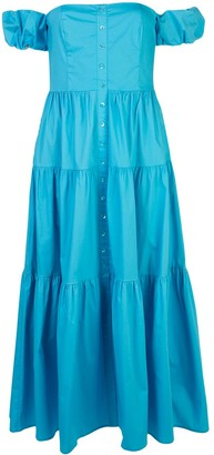 STAUD off-shoulder tiered dress