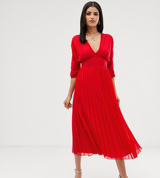Asos Tall DESIGN Tall pleated midi dress with batwing sleeves-Red
