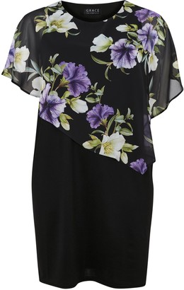 Evans **Grace Purple Chiffon Overlay Dress