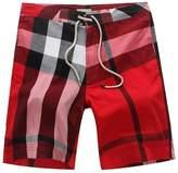 LETSQK Men's Plaid Swimwear Shorts Runner Volley Surf Swim Trunks L