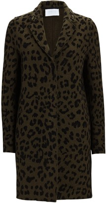 Harris Wharf London Cocoon Leopard Printed Cotton Coat